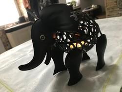 Tündéri elefánt fém mécsestartó, kültérre is,21×16 cm.