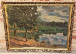 Doór Ferenc ( 1918-2015) Dunai táj 1956-ból c. festménye 90x70cm EREDETI GARANCIÁVAL !!