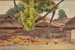 Bartus Ödön (1888 - 1950) Baromfiudvar c festménye 1925. Nemzeti Szalonban Kiállítva. EREDETI !!