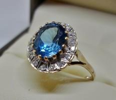 Különleges antik kék topáz és gyémánt arany gyűrű