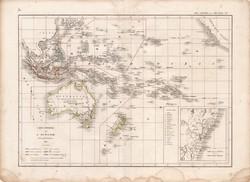 Óceánia térkép 1846, francia, atlasz, eredeti, 32 x 45 cm, Dussieux, politikai, Ausztrália, régi