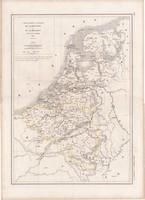 Belgium és Hollandia térkép 1847, francia, atlasz, eredeti, 32 x 45 cm, Dussieux, Marlier, politikai