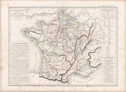 Franciaország térkép 1790 előtt, készült 1846-ban, francia, atlasz, eredeti, 32x45, történelmi