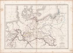Poroszország térkép 1845, francia, atlasz, eredeti, 32 x 45 cm, Dussieux, politikai, régi, Európa