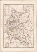 Oroszország és Lengyelország térkép 1846, francia, atlasz, eredeti, 32 x 45 cm, Dussieux, politikai