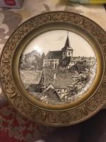 Lang Ebrach fémkeretes porcelán falitányér