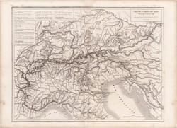Alpok térkép 1846, francia, atlasz, eredeti, 32 x 45 cm, Európa, Dussieux, hegység, régi