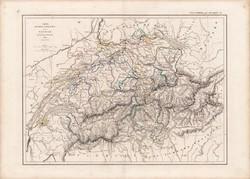Svájc térkép 1846, francia, atlasz, eredeti, 32 x 45 cm, Dussieux, Marlier, politikai, régi