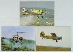 0W145 MÉM RSZ repülőgépes képeslapok 3 darab