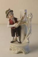 Bisquit (biszkvit) porcelán szobor, váza lantos kisfiú figurával