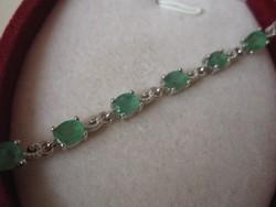 Igazi Klasszikus, fűzöld smaragd köves ezüst karkötő