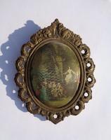 Bronz keretben udvari jelenet, falikép
