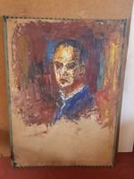 Portré, olajjal vastagon festve, vastag festőkartonra