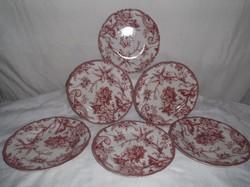Porcelán - tányér 6 db ADELAIDE MAROON by 222 FIFTH - 22 cm - tökéletes - hibátlan