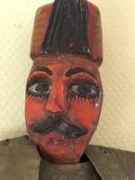 Min.120éves antik fa-fém katona báb nagyméretű színházi kellék