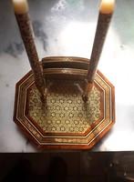 Libanoni hexagonális, intarziás toll és jegyzettartó íróasztali tárgy