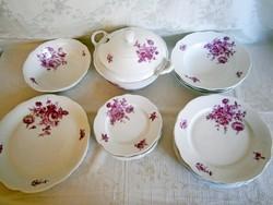 Antik régi pecsétes Zsolnay porcelán étkészlet nagyon ritka mintával hiányos (16 db)
