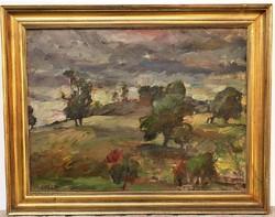 P. Bak János (1913 - 1981) Borús táj c. Képcsarnokos olajfestménye , 77x60cm EREDETI GARANCIÁVAL !!
