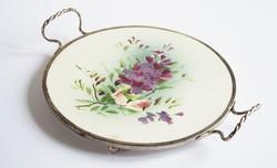 Gyönyörű akácvirág mintás fajansztálca fémkerettel - edényalátét