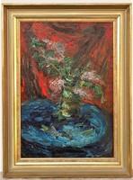 Félegyházi László (1907 - 1986) Csendélet c olajfestménye 90x67cm EREDETI GARANCIÁVAL -