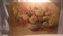 Régi akvarell virágcsendélet festmény , 51x78 cm