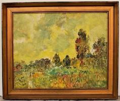 Herman Lipót (1884-1972) Szentimrei táj c. Képcsarnokos olajfestménye 60x50cm Eredeti Garanciával !!