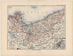 Pomeránia térkép 1892, eredeti, régi, Meyers atlasz, német nyelvű, Németország, Európa, állam