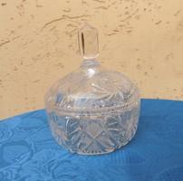 Vastag kristály üveg bonbonier cukortartó (21/d)