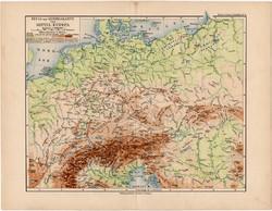 Közép - Európa hegy- és vízrajzi térkép 1892, eredeti, német nyelvű, régi, Meyers atlasz, vízrajz