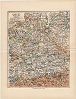 Bajorország térkép 1892, eredeti, régi, Meyers atlasz, német nyelvű, Németország, Európa, München