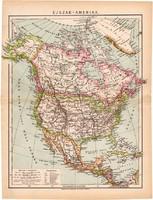 Észak (Éjszak) - Amerika térkép 1892, eredeti, antik, Egyesült Államok, régi, Athenaeum, Brockhaus