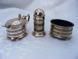 Art deko ezüstözött asztali fűszeres készlet, sószóró és két kis fűszerkrémes vagy egyéb edényke