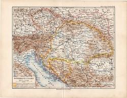 Osztrák - Magyar Monarchia térkép 1892, eredeti, régi, Meyers atlasz, német nyelvű, Magyarország