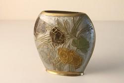 Lapos réz váza rekeszzománc díszítéssel