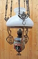 Szecessziós majolika betétes petróleum lüszter lámpa