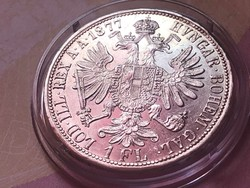 1877 ezüst 1 florin,verdefényes aUNC darab kapszulában,így ritka!!