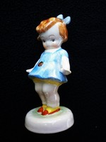 Bodrogkeresztúri katicás kislány kék ruhás