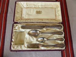 Utazó ezüst evőeszköz készlet, diannás jelzéssel, 800-as finomság, Paar János ékszerész  Budapest