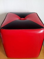 Ritka,retro,vintage,piros-fekete kocka alakú puff II.