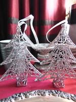 Ezüst csillámos fenyő dekoráció
