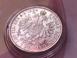 1884 ezüst 1 florin,verdefényes aUNC darab kapszulában,így nagyon ritka!!