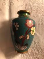 Tündéri réz rekeszzománc váza barackvirágos.