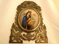 Koronázott Passió Madonna Ikon máz feletti technológiával készült ábrázolása 18.sz.vége (porcelán)