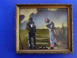Selyemfestmény szép hibátlan keretben: Találkozás