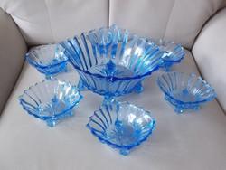 Antik 6sz. kék üveg kompótos készlet hibátlan