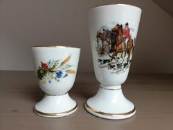 Aranyszélű lovas, vadászat jelenetes és virágos, búzakalászos porcelán vázácska kehely