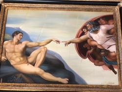 Michelangelo Buonarroti után  -Ádám teremtése  olaj vászon festmény