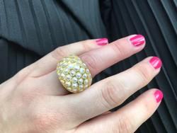 Extravagáns ezüst gyűrű gyongyokkel 17mm atmero
