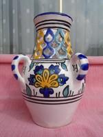 Ficher Emil? áttört mintás hibátlan porcelán 4 füles váza 16,5 cm