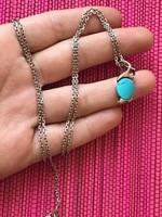Csodálatos Türkíz ezüst nyaklánc+medál  925